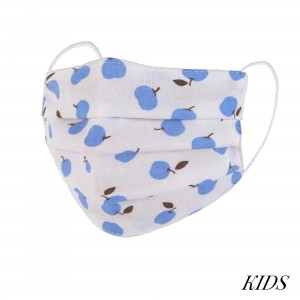 KIDS Non-Medical Apple Pleated Washable & Reusable Fashion Face Mask.  - Wash Before Use - Reusable / Washable / Latex Free - Eco-Friendly - Protects from Dust / Fog / Spray / Pollen - One size fits most KIDS (AGES 5-11) - Cotton & Elastic   *** ALL Sales Final Due to CDC Recommendations