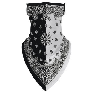 "Black & White Unisex Scarf Bandana Face Mask with Ear Loops.  - Non-Medical - No Filter - Quick Dry & Breathable Material - Helps Protect From UV / Dust / Wind / Sun   - One size fits most - Approximately 16"" L in Front & 6"" L in Back - Head Circumference Approximately 21""   *** ALL Sales Final Due to CDC Recommendations"