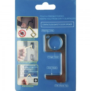 Keep Your Hands Safe with This Rhodium Fashion Design Contactless Safety Door Opener.  - Touch Free & Hygienic  - Keeps You From Touching Dirty Surfaces - Can Be Used For ATM Screens, Pin Pads, Door Handles Etc. - Features Keyring Loop, Finger Hole, Door Hook & Flat Tip  - Approximately 2.75""