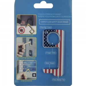 Keep Your Hands Safe with This American Flag Fashion Design Contactless Safety Door Opener.  - Touch Free & Hygienic  - Keeps You From Touching Dirty Surfaces - Can Be Used For ATM Screens, Pin Pads, Door Handles Etc. - Features Keyring Loop, Finger Hole, Door Hook & Flat Tip  - Approximately 2.75""