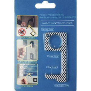 Keep Your Hands Safe with This Zig-Zag Fashion Design Contactless Safety Door Opener.  - Touch Free & Hygienic  - Keeps You From Touching Dirty Surfaces - Can Be Used For ATM Screens, Pin Pads, Door Handles Etc. - Features Keyring Loop, Finger Hole, Door Hook & Flat Tip  - Approximately 2.75""