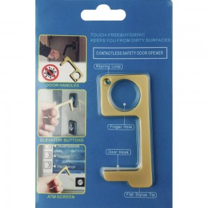 Keep Your Hands Safe with This Gold Fashion Design Contactless Safety Door Opener.  - Touch Free & Hygienic  - Keeps You From Touching Dirty Surfaces - Can Be Used For ATM Screens, Pin Pads, Door Handles Etc. - Features Keyring Loop, Finger Hole, Door Hook & Flat Tip  - Approximately 2.75""