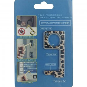 Keep Your Hands Safe with This Leopard Print Fashion Design Contactless Safety Door Opener.  - Touch Free & Hygienic  - Keeps You From Touching Dirty Surfaces - Can Be Used For ATM Screens, Pin Pads, Door Handles Etc. - Features Keyring Loop, Finger Hole, Door Hook & Flat Tip  - Approximately 2.75""
