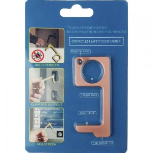 Keep Your Hands Safe with This Rose Gold Fashion Design Contactless Safety Door Opener.  - Touch Free & Hygienic  - Keeps You From Touching Dirty Surfaces - Can Be Used For ATM Screens, Pin Pads, Door Handles Etc. - Features Keyring Loop, Finger Hole, Door Hook & Flat Tip  - Approximately 2.75""