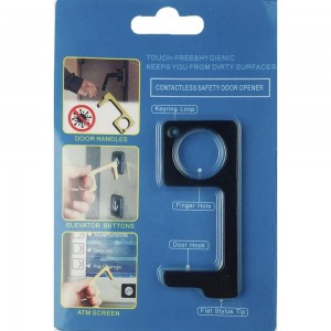 Keep Your Hands Safe with This Black Fashion Design Contactless Safety Door Opener.  - Touch Free & Hygienic  - Keeps You From Touching Dirty Surfaces - Can Be Used For ATM Screens, Pin Pads, Door Handles Etc. - Features Keyring Loop, Finger Hole, Door Hook & Flat Tip  - Approximately 2.75""
