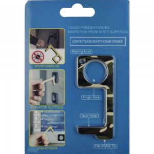Keep Your Hands Safe with This Camouflage Fashion Design Contactless Safety Door Opener.  - Touch Free & Hygienic  - Keeps You From Touching Dirty Surfaces - Can Be Used For ATM Screens, Pin Pads, Door Handles Etc. - Features Keyring Loop, Finger Hole, Door Hook & Flat Tip  - Approximately 2.75""