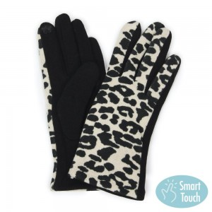 Ivory Leopard Print Smart Touch Gloves.  - Touchscreen Compatible  - One size fits most - 100% Polyester
