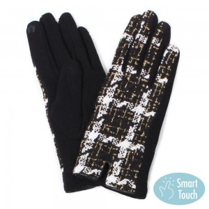 Gold Metallic Tweed Plaid Smart Touch Gloves.  - Touchscreen Compatible  - One size fits most - 100% Polyester