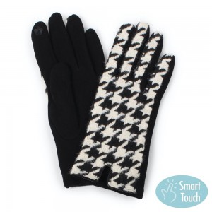 Large Houndstooth Print Smart Touch Gloves.  - Touchscreen Compatible  - One size fits most - 100% Polyester