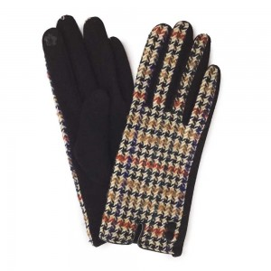 Brown Houndstooth Print Smart Touch Gloves with Button Detail.  - Touchscreen Compatible - One size fits most - 100% Polyester