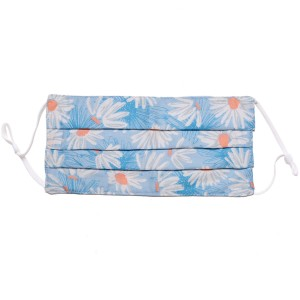 Non-Medical Blue Daisy Pleated Fashion Face Mask with Adjustable Ear Loop.  - Wash Before Use - Reusable / Washable / Latex Free - Eco-Friendly - Protects from Dust / Fog / Spray / Pollen - One size fits most Adults - Cotton & Elastic  *** ALL Sales Final Due to CDC Recommendations