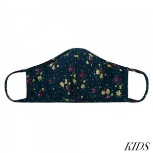 KIDS Reusable Floral Print T-Shirt Cloth Face Mask with Seam.  - Machine Wash in Cold - Mild Detergent - Lay Flat to Dry - Do Not Bleach - Washable & Reusable Face Mask - These Mask have NO Filter - One Size Fits Most KIDS (Ages 5-11) - Exterior Material: 95% Polyester / 5% Spandex - Interior Material: Cotton Blend in Ivory or White  ** These Masks Are Not For Professional Use and Not Medically Rated. These Masks Have No Proven Effectiveness Against Any Viruses. *** ALL Sales Final Due to CDC Recommendations