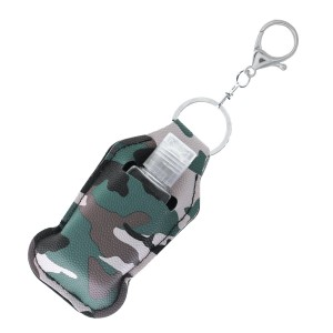 "Faux Leather Neoprene Camouflage Hand Sanitizer Holder/Keychain Holder.  - Can Attach to Keys / Purses / Bags / Backpacks Etc. - Hand Sanitizer Not Included** - Holds 1fl oz  - Outside Material: Faux Leather  - Inside Material: Neoprene - Approximately 4"" T x 2.5"" W  ** Comes with Empty Sanitizer Bottle."