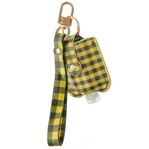 "Keep Your Self Protected While You're Out and About with This Faux Leather Buffalo Check Hand Sanitizer Holder Wristlet.  - Clip to your purse, bag, or diaper bag - Key ring to hold your keys - Detachable Wristlet 7"" - Fits up to 1fl.oz Sanitizer Bottle - Approximately 3"" T x 2.5"" W  ***Hand Sanitizer NOT INCLUDED. (Comes with empty Bottle)"