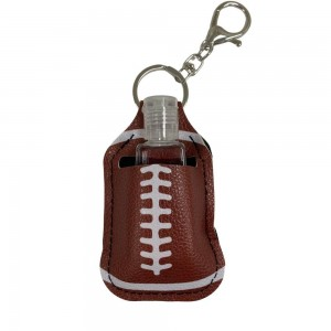 """Faux Leather Neoprene Football Hand Sanitizer Holder/Keychain Holder.  - Can Attach to Keys / Purses / Bags / Backpacks Etc. - Hand Sanitizer Not Included** - Holds 1fl oz - Outside Material: Faux Leather - Inside Material: Neoprene - Approximately 4"""" T x 2.5"""" W  ** Comes with Empty Sanitizer Bottle."""