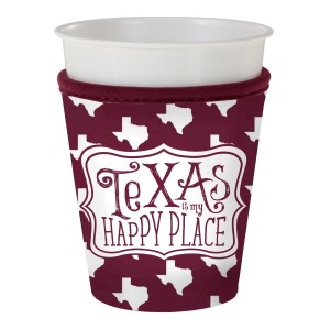 Maroon and white insulated neoprene Texas A & M cup hugger. Fits most plastic party cups.