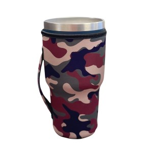 Camouflage Neoprene Drink Sleeve.   -Fits up to 32 ounce tumbler  -Built in handle  -Black interior