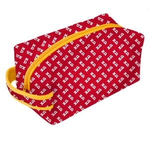 Neoprene Zipper Bag-Chi Omega. This zipper bag includes a convenient carrying handle and may be used for cosmetics, brushes or any personal items. Machine washable.
