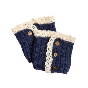 "5 1/2"" Blue crochet boot toppers with wood buttons and cream lace."