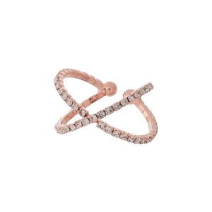 Rhinestone Criss-Cross Fashion Ring.  - One size fits most  - Adjustable
