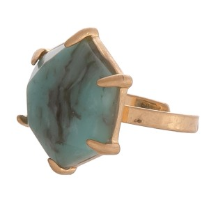 """Semi precious octagon natural stone ring.  - Adjustable band - Stone approximately .75"""" in diameter - Fits up to a size 8 ring"""
