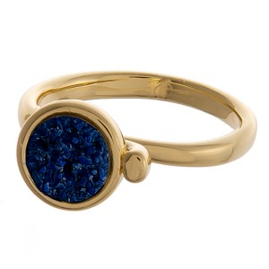 Adjustable gold druzy ring.   - Adjustable open band  - Fits up to a size 9 ring