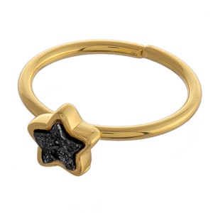 Adjustable gold star druzy ring.  - Adjustable open band - Fits up to a size 9 ring