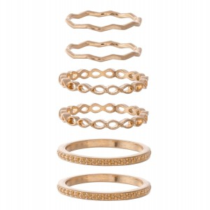 Texturized Band Knuckle Ring Set.  - 6 rings per set - Fits up to a size 7 ring