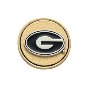 Matte two tone officially licensed University of Georgia snap charm. Snap jewelry collection.