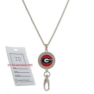 "34"" silver tone chain necklace style ID holder with a pull clasp closure to meet HIPAA regulations featuring a crystal clear rhinestone studded officially licensed Georgia logo pendant and ID clip. ID HOLDER NOT INCLUDED.**"