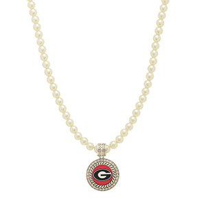 "Officially licensed 16"" Ivory pearl beaded necklace featuring a 1"" round silver tone Georgia pendant surrounded by crystal clear rhinestones."