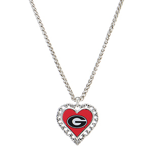 "Officially licensed 18"" silver tone necklace featuring a 1 1/2"" heart shaped Georgia logo."
