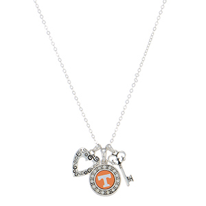 """Officially licensed 18"""" silver tone necklace featuring a Tennessee logo, a heart shaped charm, and a key."""