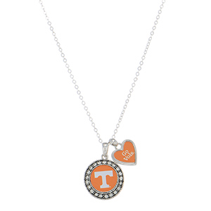 """Officially licensed 18"""" silver tone necklace featuring a Tennessee logo and a heart shaped charm inscribed with """"Go Vols."""""""
