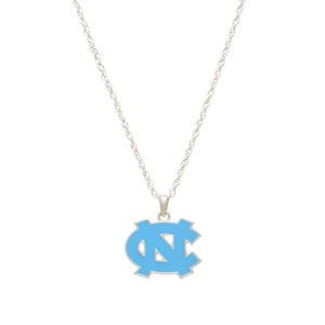 "Silver tone officially licensed collegiate necklace featuring a University of North Carolina charm. Approximately 17"" in length."