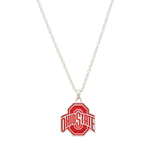 """Silver tone officially licensed collegiate necklace featuring an Ohio State University charm. Approximately 17"""" in length."""