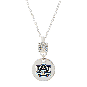 "Silver tone necklace with an officially licensed rhinestone and an Auburn University pendant. Approximately 18""in length."
