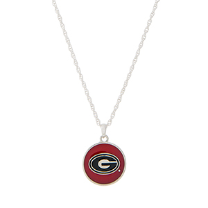 """Silver tone necklace with a red and black officially licensed University of Georgia pendant. Approximately 18"""" in length."""