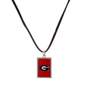 """Officially licensed University of Georgia necklace with black cord and a square logo pendant. Approximately 16"""" in length."""