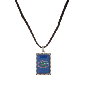 "Officially licensed University of Florida necklace with black cord and a square logo pendant. Approximately 16"" in length."