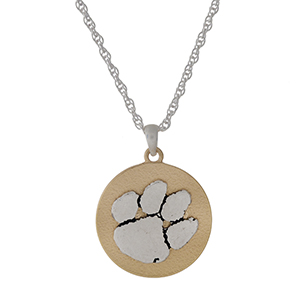 "Officially licensed, two tone necklace with the Clemson University logo pendant. Approximately 18"" in length."