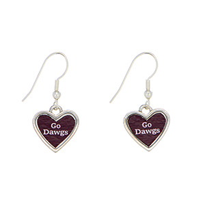 "Officially licensed 1"" silver tone Mississippi State earrings featuring a heart shape inscribed with ""Go Dawgs""."