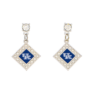 "Officially licensed 1 1/2"" silver tone earrings featuring a diamond shaped Kentucky logo with clear crystal rhinestones."