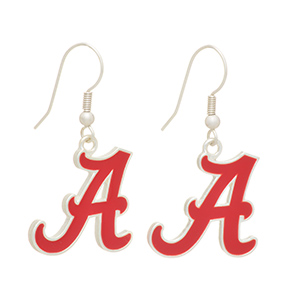 "Silver tone officially licensed fishhook earrings featuring The University of Alabama logo. Approximately 1"" in length."