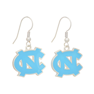 "Silver tone officially licensed fishhook earrings featuring The University of North Carolina logo. Charm approximately 3/4"" in length. Overall length 1 7/16""."