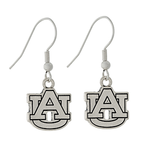 "Silver tone official licensed Auburn University earrings. Charm approximately 1/2"" in length. Overall length 1 1/16""."