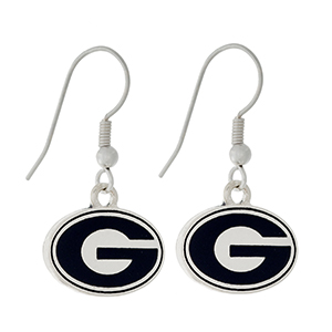 """Silver tone official licensed University of Georgia earrings. Approximately 1/2"""" in length."""