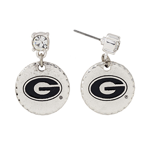 "Silver tone post style earrings with a rhinestone and a dangling officially licensed University of Georgia disk. Approximately 1 1/8"" in length."