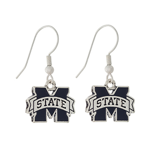 "Silver tone official licensed Mississippi State earrings. Approximately 1/2"" in length."