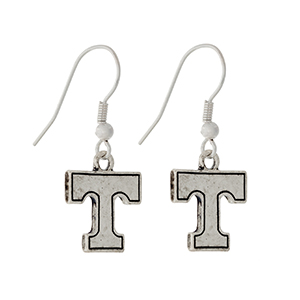 "Silver tone official licensed University of Tennessee earrings. Approximately 1/2"" in length."